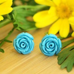 Jewelry - 925 Sterling silver stud rose flower earrings 15mm